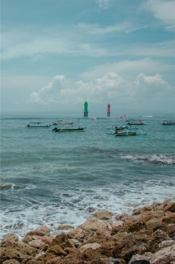 Sanur Beach in Bali on a cloudy day