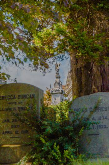 oak trees over stone graves at memorial at Sleepy Hollow cemetery NY