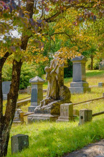 intricate gravestones at