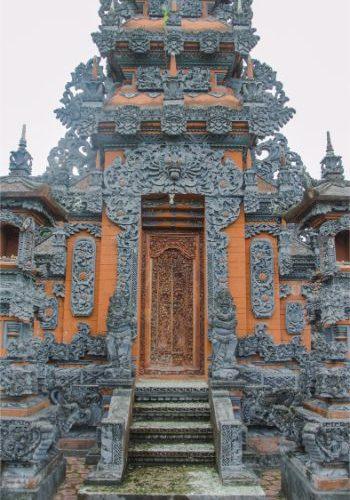 detail of red and black door at temple Pura Jagat Nata