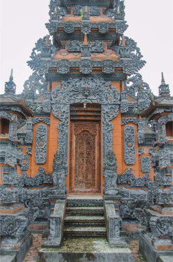 detail of red and black door at temple Pura Jagat Nata