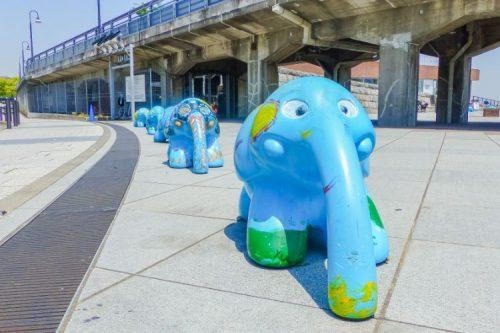 cute elephant statues in Yokohama, Japan