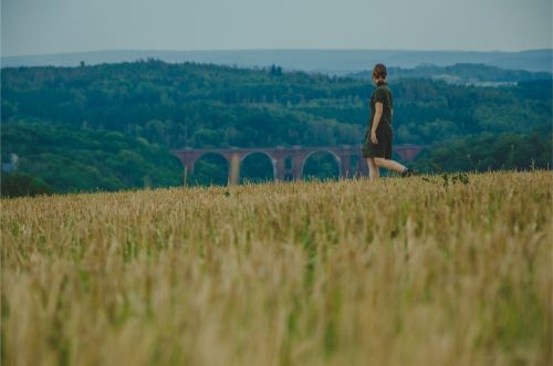 woman overlooking the elstertalbruecke in the distance from corn fields
