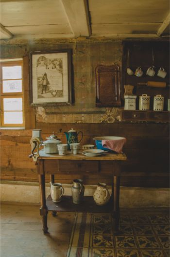 Historic peasant living room at open air museum Landwüst