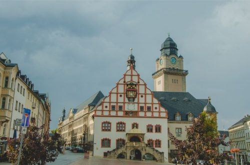market place with town in Plauen, Germany
