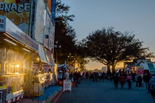 sunset over the 2019 North Carolina State Fair