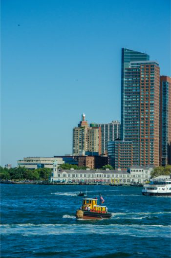 Lower Manhattan Battery Park seen from the ferry