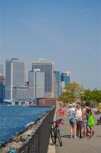 view from The Hills over lower Manhattan from Governors Island NY