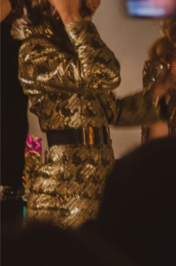 details of gold dress at Marc Bouwer's NYFW 2019 show