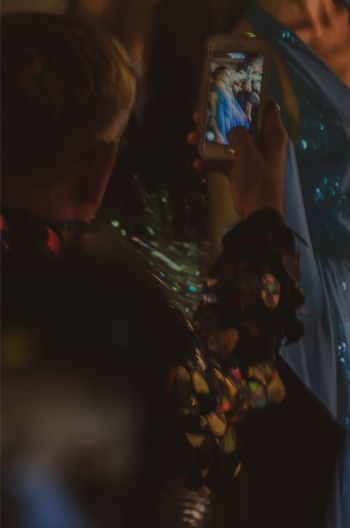 phone capturing details of gold dress at Marc Bouwer's NYFW 2019 show