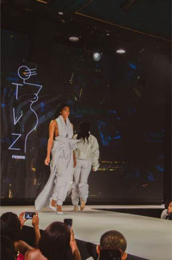 silver outfits at TVZ L'Femme at NYFW 2019