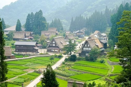 Gokayama houses in the mist