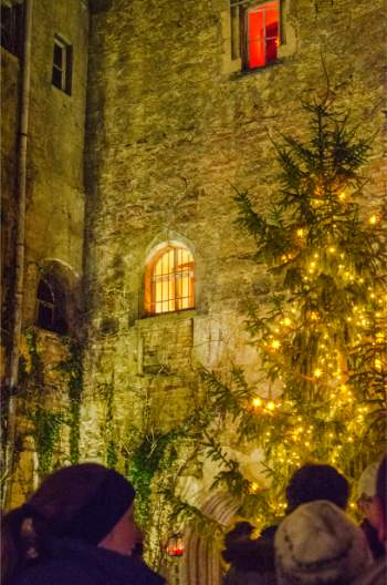 lit Christmas tree in Naumburg, Germany