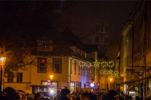Naumburg Cathedral during Christmas market at night