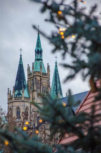 Erfurt church seen through decorated tree branches