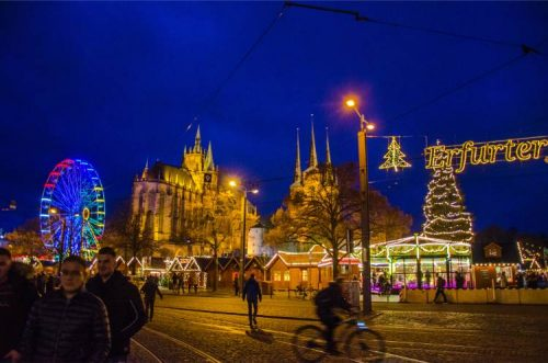 the main Christmas market in Erfurt at the Cathedral square