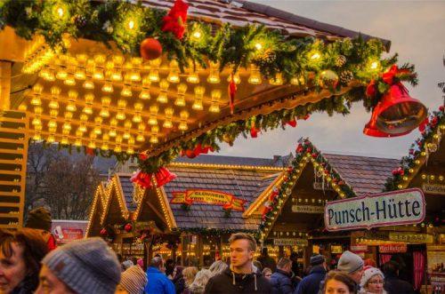 close up of Erfurt's Christmas market stalls
