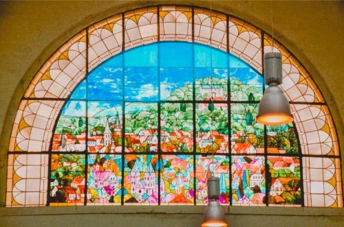 German train station with stained windows