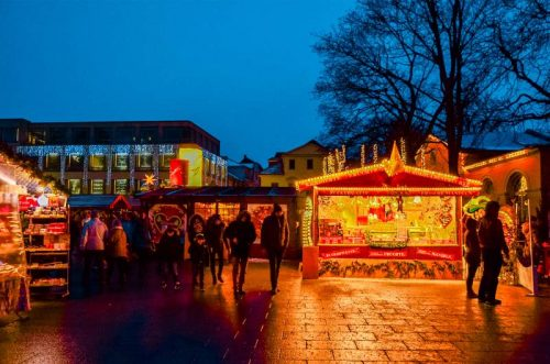 Weimar Christmas market at night in front of theatre