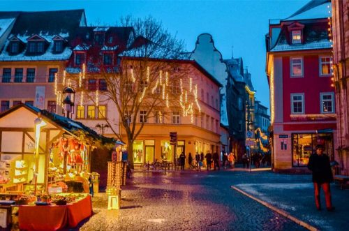 Weimar Christmas market at night in front of town hal