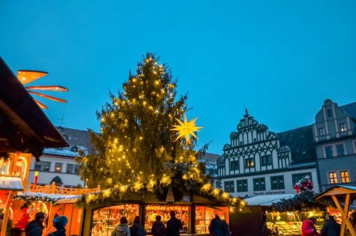 Weimar Christmas market with Christmas tree