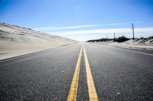 road to Outer Banks in NC during Offseason