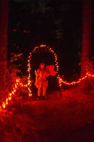 red forest scene at Haunted farm near Raleigh, Nort Carolina