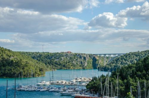 Skradin boats and bridge near Krka National Park, Croatia