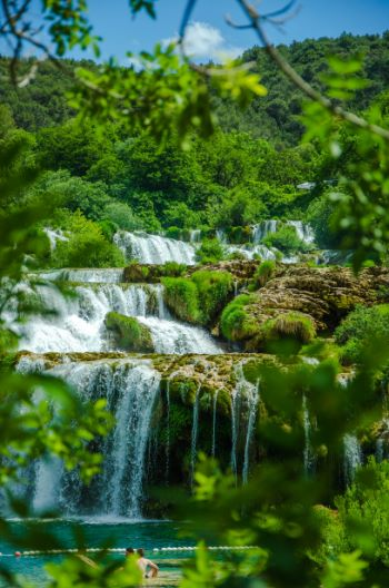 close up of waterfalls at Krka National Park, Croatia