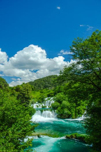 Krka National Park waterfalls on a sunny day