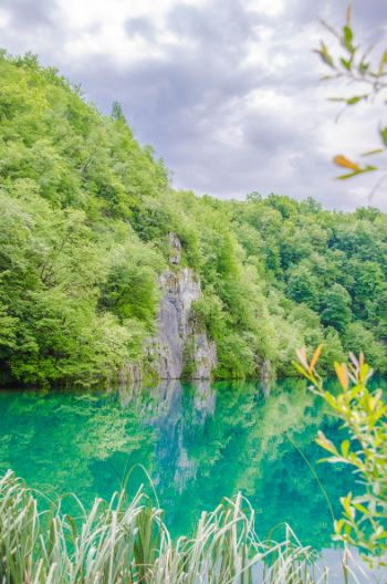 crystal blue water at Plitvice National Park, Croatia