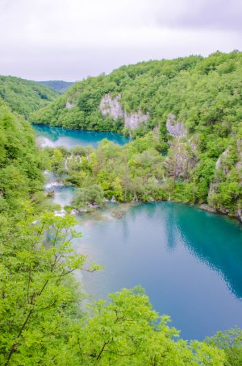 multiple lakes at Plitvice National Park, Croatia