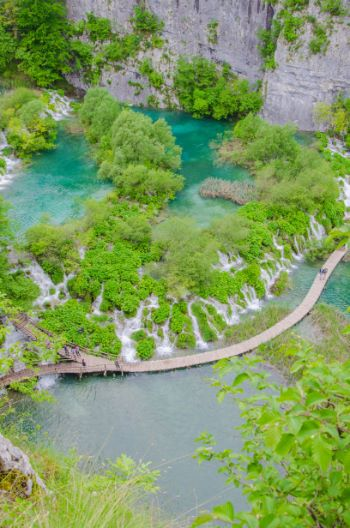 boardwalk at Plitvice National Park, Croatia
