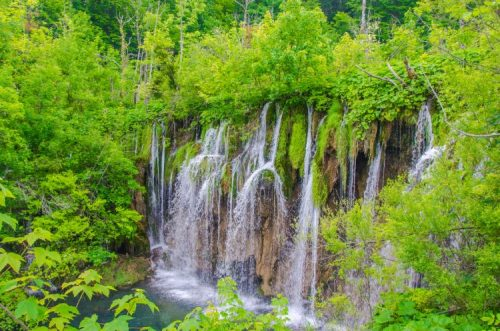 cascading Plitvice waterfall seen from above