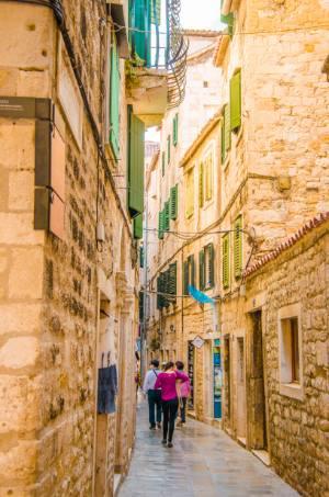 narrow street in Split, Croatia