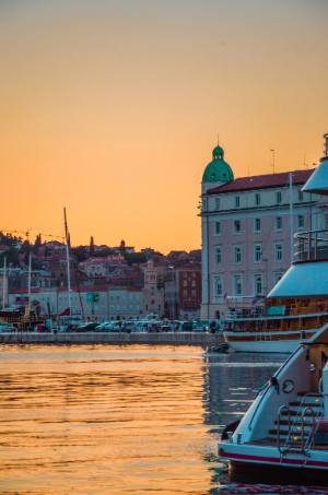 sunset over harbour in Split, Croatia