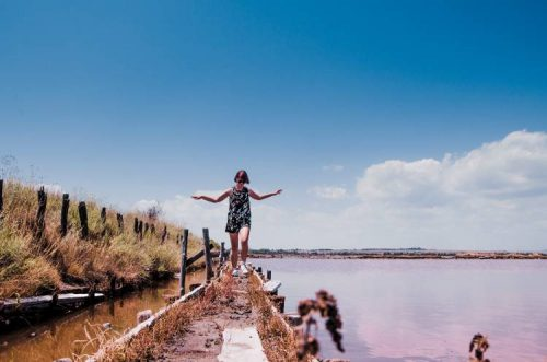 me balancing on narrow path among the Burgas pink lake