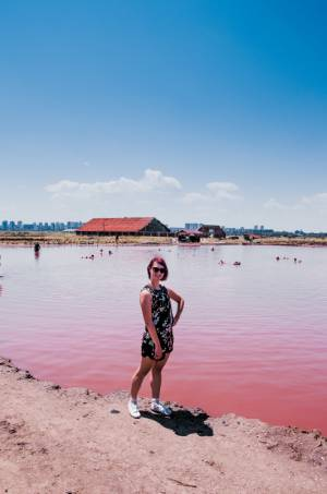 me in front of the pink lake in Bulgaria