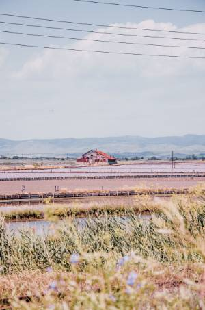 farm house in pink salt lakes in Bulgaria