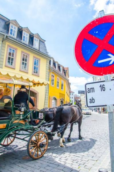 horse carriage in front of yellow Romantic buildings