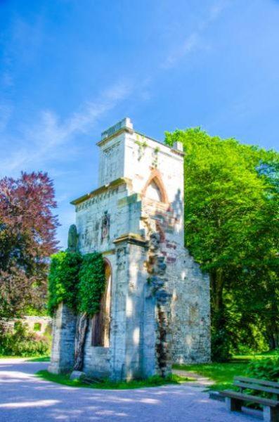 Romantic ruin covered in green vines