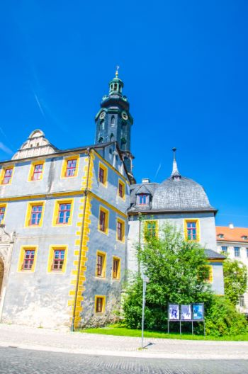 Blue and yellow castle building