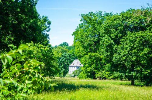 Goethe house seen from afar among green trees