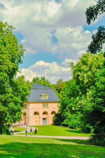 orange building in green park