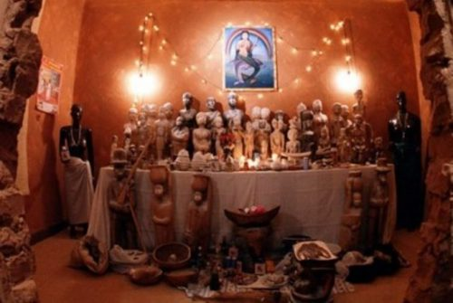 shrine with figurines and icons