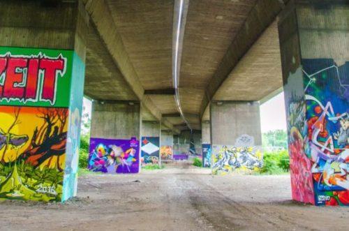 colourful graffiti on pillars