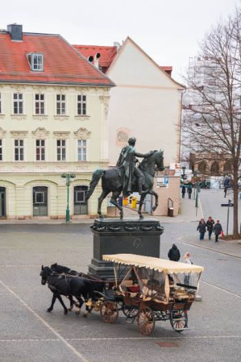 market place with statue and carriage