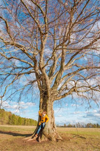 woman in summer linden tree in Jena