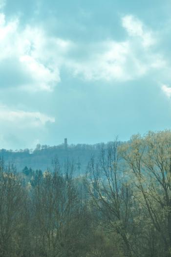 Fuchsturm castle tower seen in the distance